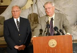 Former MN Republican Governor Arne Carlson (left) and former Democratic VP Walter Mondale have joined forces to fight voter suppression via photo ID amendment in Minnesota.  Photo courtesy of MN Public Radio.