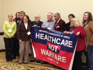 Rep. John Conyers with members of the Labor Campaign for Single Payer Healthcare at their Chicago conference.  Included is Progressive Democrats of America National Director Tim Carpenter (3rd from left) and Mark Dudzic, Labor Campaign director (left of Conyers).
