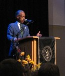 "Rev. Al Sharpton at St. Olaf College: ""My generation didn't finish the task. I believe your generation can bring us there. I believe that if you don't duck the issues and you're not afraid to confront what is uncomfortable in the short run, it will bring about equality in the long run."""