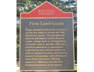 Iowa State proudly displays its land grant heritage.